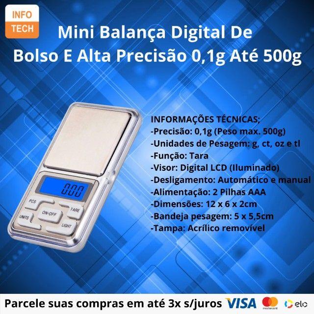 Mini Balança Digital De Bolso E Alta Precisão 0,1g Até 500g - Foto 3