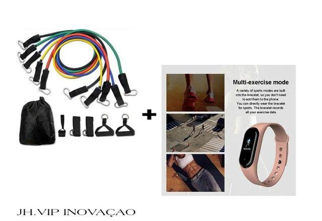 Kit Elástico Extensor 11 Itens Musculação + Relógio Smartwastch M5 Modelo