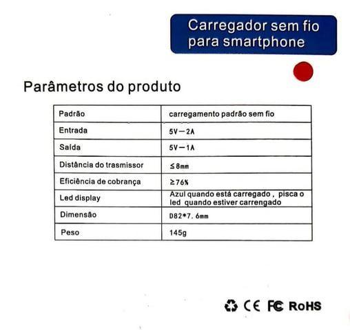 Base Carregador S/ Fio Qi Wireless Charger - Mega Infotech - Foto 3