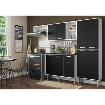 Cozinha Compacta 9 Portas Multimóveis Branco Preto - Foto 5