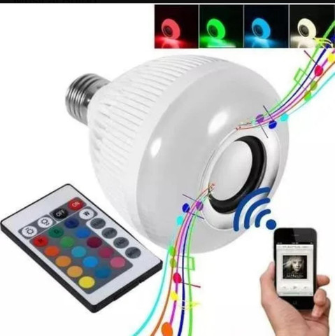Lampada Led Rgb Branco Caixa Som Musical bluetooth Bulb