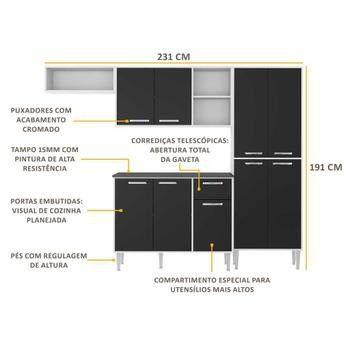 Cozinha Compacta 9 Portas Multimóveis Branco Preto - Foto 3