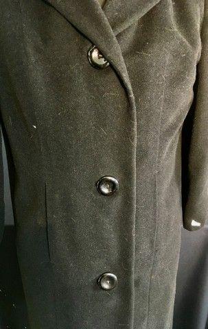Casaco lã batida preta com gola de Vison (usado) - Foto 6