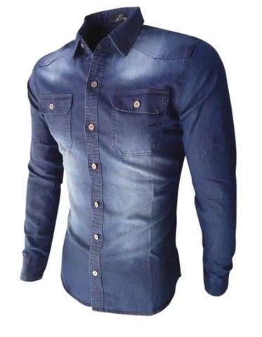 Camisa jeans Manga Longa Execultiva - Foto 4