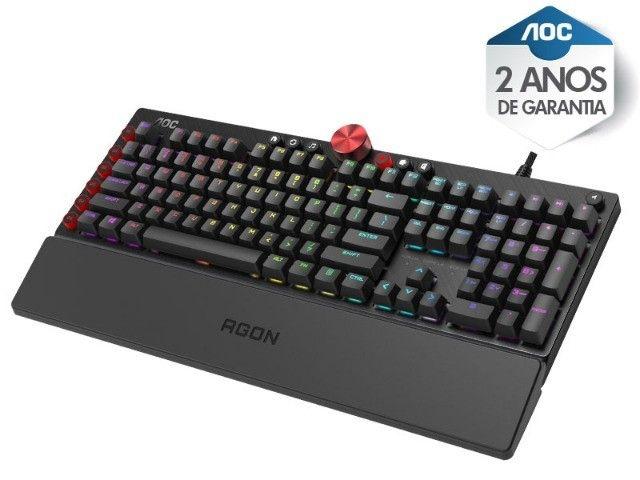 teclado gamer agon aoc (107451-3) mecanico rgb switch cherry mx blue abnt2 - Foto 4
