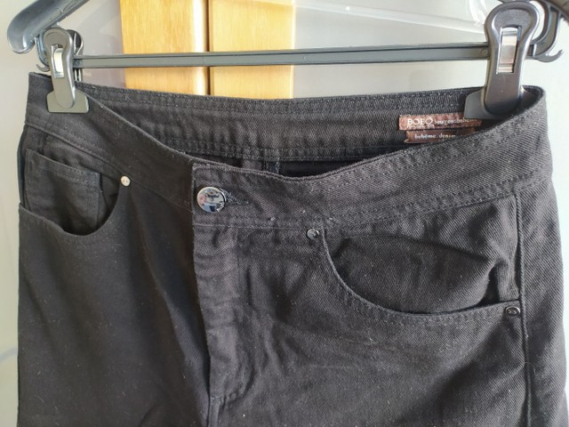 Calça Pantacourt Jeans Preta Bo.Bô Tam 40 - Foto 5