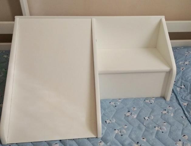 Mini Escadinha com Escorregador em MDF/Laca Branco - Foto 3