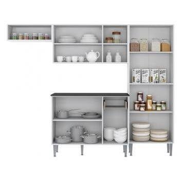 Cozinha Compacta 9 Portas Multimóveis Branco Preto - Foto 6