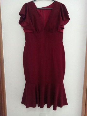 Vestido Vinho Semi Novo - Foto 3