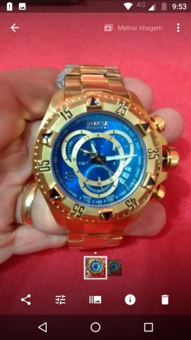 2ce7853050f Relógio invicta excursion fundo azul ou dourado - Bijouterias ...