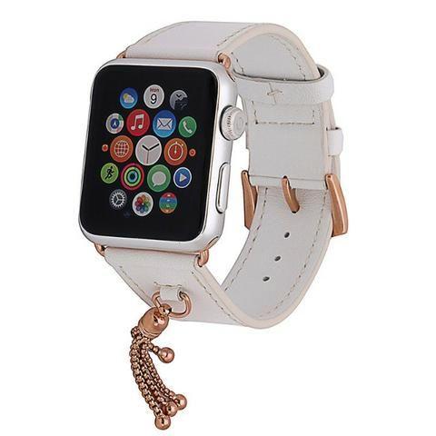 Pulseira para Apple Watch em Couro Branco com Pingente