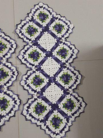 Tapete de croche caminho de mesa - Foto 3