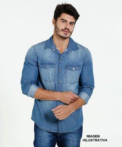 Camisa jeans Manga Longa Execultiva - Foto 5