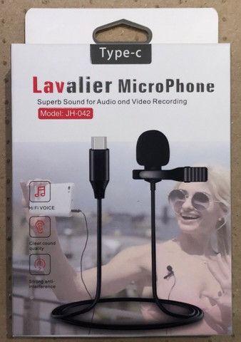 Microfone Lapela Tipo C Profissional Estéreo Som de Qualidade Condensado - Foto 3