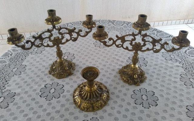 3 Castiçais em Bronze Muito Conservados