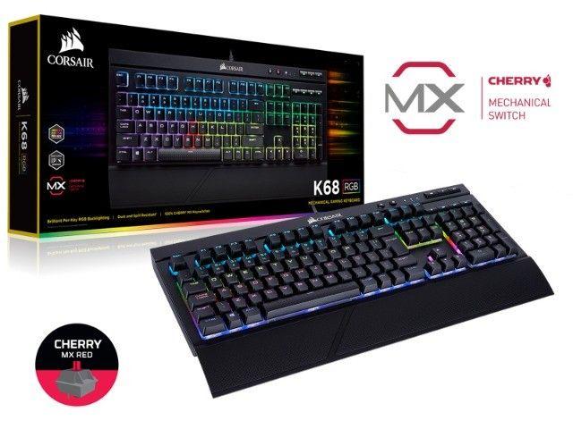 teclado gamer com fio corsair (40700-4) k68 retroiluminacao rgb red