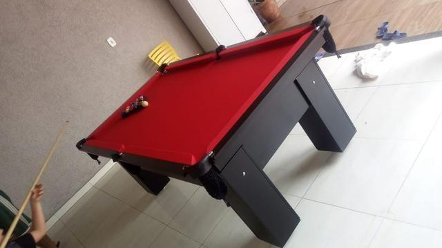 Mesa de Bilhar Tecido Vermelho TX Cor Preto Modelo JTU6321 - Foto 3