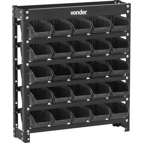 Estante metálica com gavetas, modelo prático 25/3, cor preta, Vonder (Nova) - Foto 2