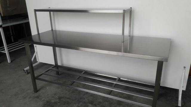 Mesa inox com prateleira de apoio - Produto novo industrial