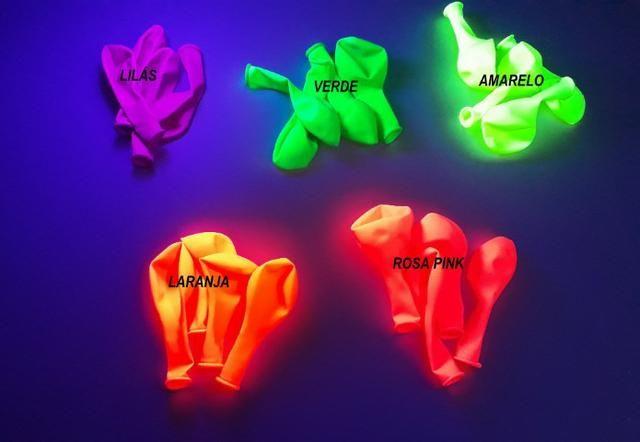 Balões Neon kit 25 unidades - brilha com luz negra( leia a descrição) - Foto 2