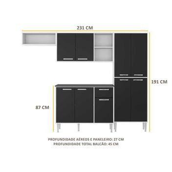 Cozinha Compacta 9 Portas Multimóveis Branco Preto - Foto 4