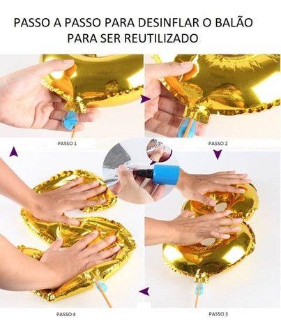 Kit 2 balões metalizados Reutilizáveis Unicórnio - Foto 3