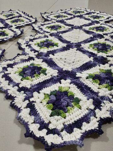 Tapete de croche caminho de mesa - Foto 2
