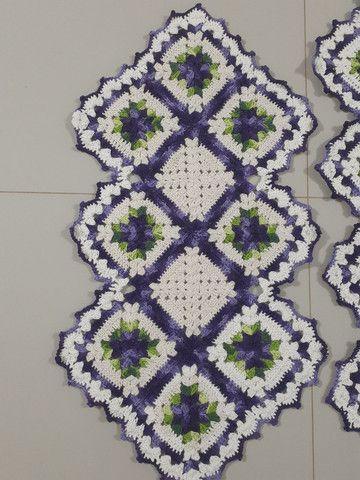 Tapete de croche caminho de mesa