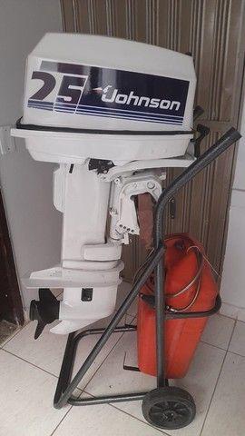 Motor Johnson 25hp + Carrinho e Tanque- 2004 - Foto 2