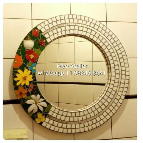 Espelho mosaico, banheiro, sala, sala de jantar, decoração - Foto 4