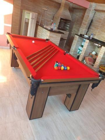 Mesa de Bilhar Quatro Pés Tecido Vermelho Tx Modelo CTF1098