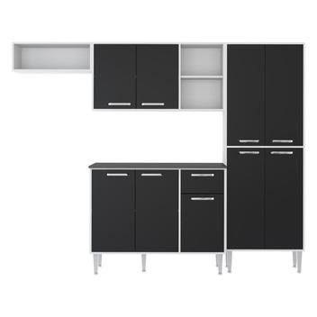 Cozinha Compacta 9 Portas Multimóveis Branco Preto - Foto 2