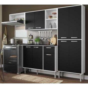 Cozinha Compacta 9 Portas Multimóveis Branco Preto