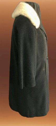 Casaco lã batida preta com gola de Vison (usado) - Foto 5
