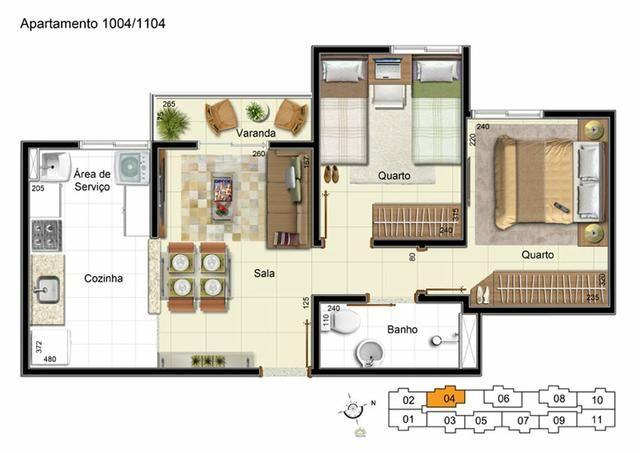 Ap 2 quartos, renda a partir de 2600, documentação grátis, facilidades na entrada