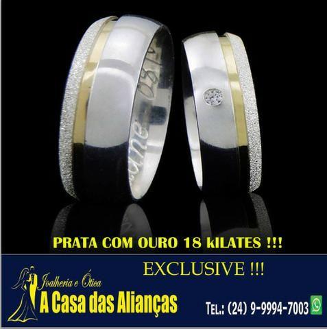 Prata** ouro 18 k e Pedras - Coisa de Luxo - LIgue 24- * - Foto 2