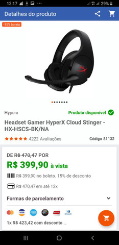 Headset Cloud Stinger semi novo pouco uso
