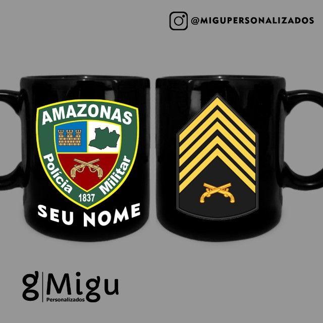 Caneca da Polícia Militar do Amazonas Caneca 100% preta Policial Militar / xícara PM