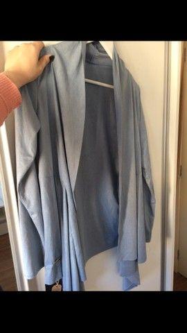 Cardigan azul em suede - Foto 2