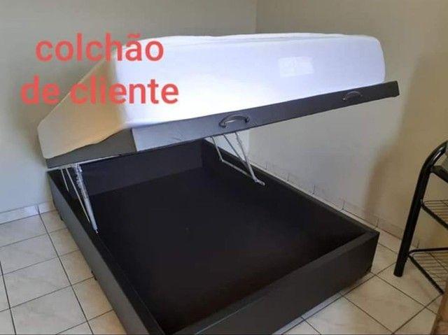 Promoção!!! Box Baú Casal. Bege e Preto Courino Frete Grátis!!! - Foto 6