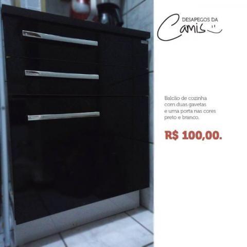 Balcão de Cozinha preto e branco (usado)