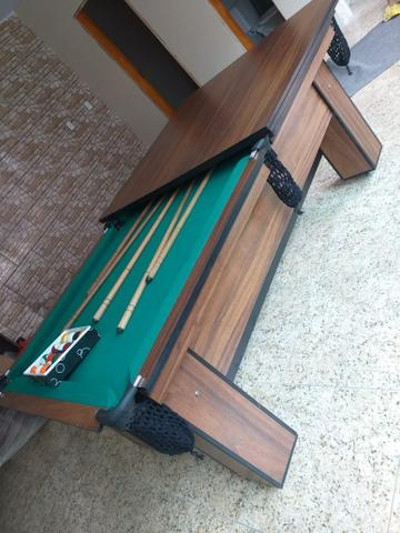 Mesa de Bilhar Tecido Verde Cor Tabaco Tx Modelo MDR0651 - Foto 4