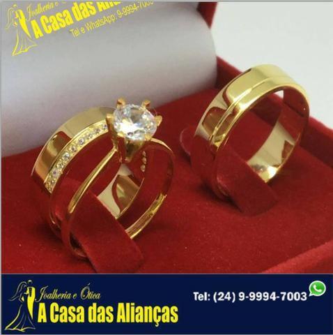 Alianças Modernas ouro 18 k - com Solitário /ligue e agende uma visita