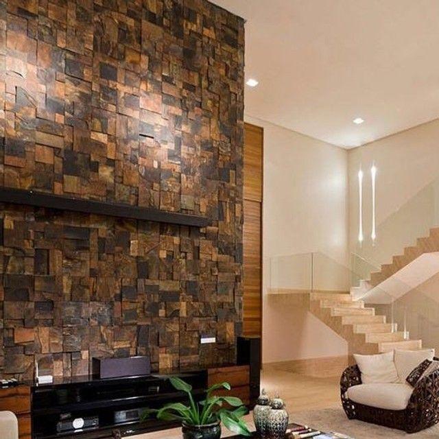 Mosaico de Pedra Ferro Basalto 3D Natural Ferrugiminoso Parede Promoção DoMeuGosto  - Foto 2