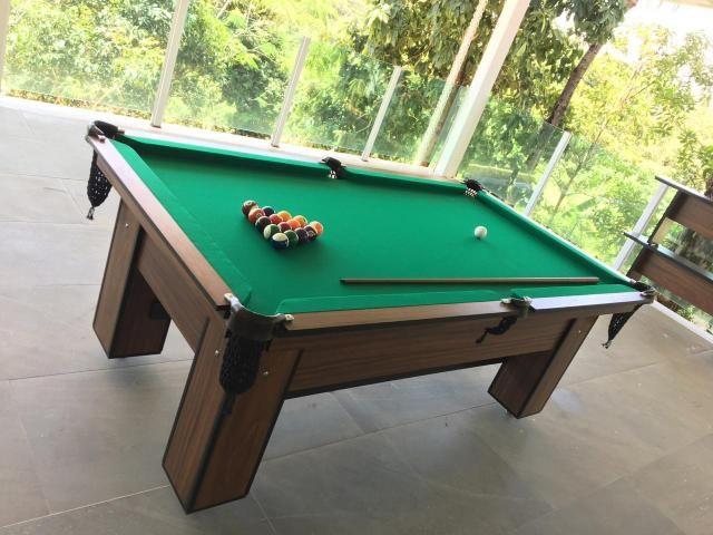 Mesa de Bilhar Cor Imbuia Tecido Verde Tx 4 Pés Modelo FAP4321 - Foto 5