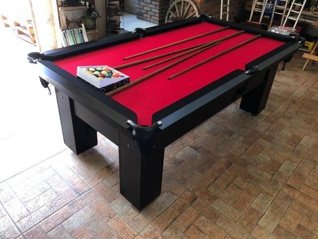 Mesa de Bilhar Tabelas Pretas Tecido Vermelho Cor Preta Tx Modelo DEQ3050