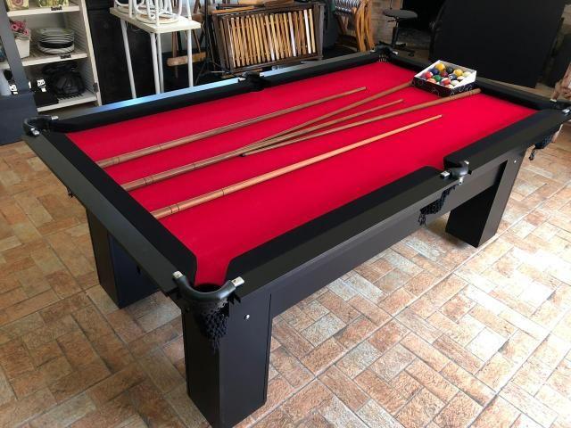 Mesa de Bilhar Tabelas Pretas Tecido Vermelho Cor Preta Tx Modelo DEQ3050 - Foto 3