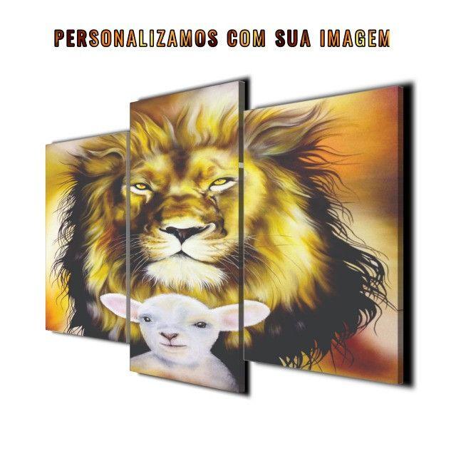 Quadro Decorativo Leão e ovelha - Foto 2