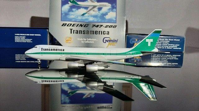 Miniatura de avião B.747-400 Transamerica  Escala 1.400 Gemini Jets - Foto 2