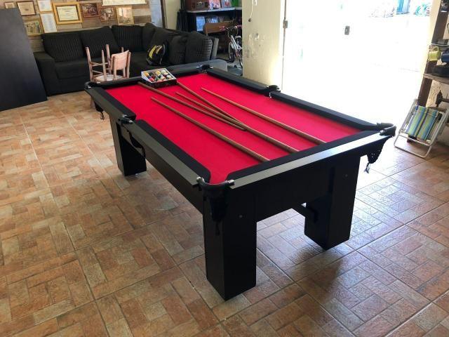 Mesa de Bilhar Tabelas Pretas Tecido Vermelho Cor Preta Tx Modelo DEQ3050 - Foto 4